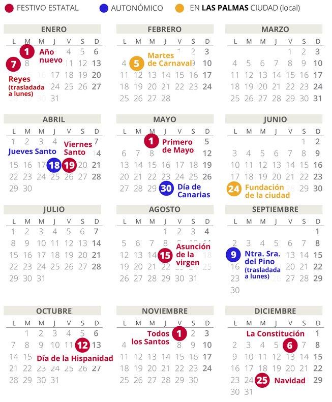 Calendario Laboral Espana.Calendario Laboral De Las Palmas Del 2019 Con Todos Los Festivos